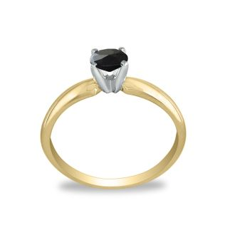 1/2 Carat Black Diamond Solitaire Ring In 10K Yellow Gold