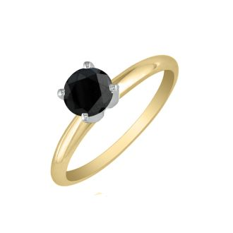 3/4 Carat Black Diamond Solitaire Ring In 10K Yellow Gold