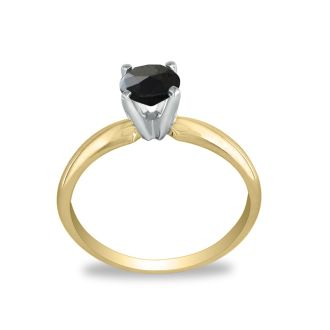 1 1/2 Carat Black Diamond Solitaire Ring in 14K Yellow Gold