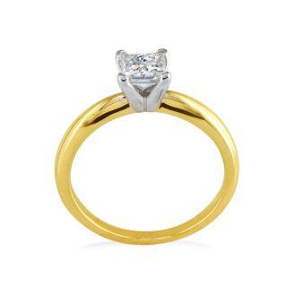 1/2 Carat Princess Diamond Engagement Ring In 14K Two Tone Gold