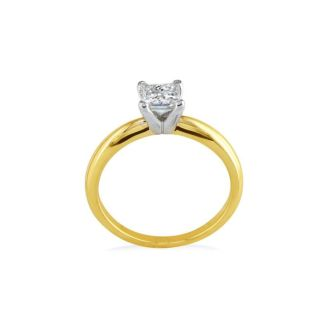 1/4 Carat Princess Diamond Solitaire Engagement Ring in 14K Yellow Gold