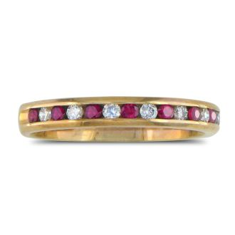 1/4ct Ruby and Diamond Channel Set Band, 14k Yellow Gold