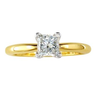 1/2 Carat Princess Shape Diamond Solitaire Ring In 14K Yellow Gold