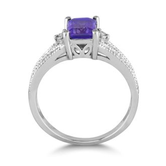 1 1/2ct Amethyst and Diamond Ring, Sterling Silver