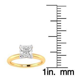 3/4 Carat Princess Shape Diamond Solitaire Ring In 14K Yellow Gold