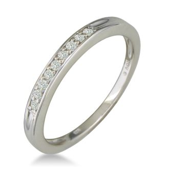 1/8ct Mens and Womens Diamond Wedding Band in Sterling Silver