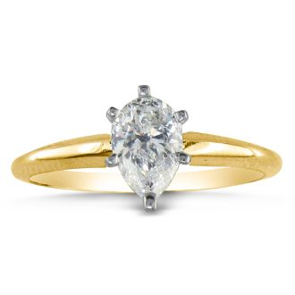 3/4 Carat Pear Shape Diamond Solitaire Ring In 14K Yellow Gold