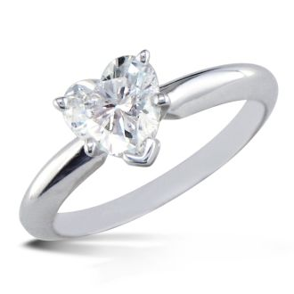 3/4 Carat Heart Shape Diamond Solitaire Ring In 14K White Gold