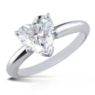 1 Carat Heart Shape Diamond Solitaire Ring In 14K White Gold