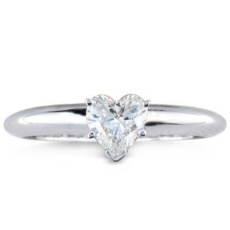 1/2 Carat Heart Shape Diamond Solitaire Ring In 14K White Gold
