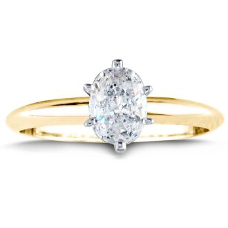 3/4 Carat Oval Shape Diamond Solitaire Ring In 14K Yellow Gold