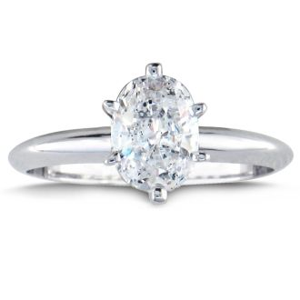 1 Carat Oval Shape Diamond Solitaire Ring In 14K White Gold