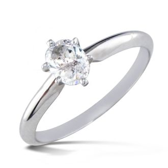 1/2 Carat Oval Shape Diamond Solitaire Ring In 14K White Gold