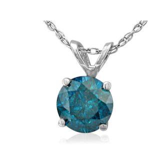 3/4ct Blue Diamond Pendant in 14k White Gold