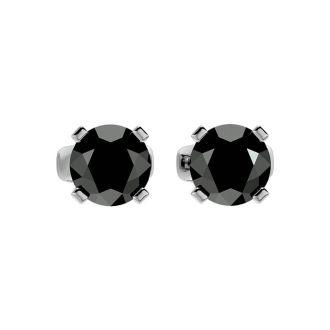 2ct Black Diamond Stud Earrings, 14k White Gold