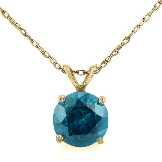 1ct Blue Diamond Solitaire Pendant, 14k Yellow Gold