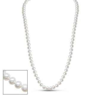 24 inch 6mm AA Pearl Necklace With 14K Yellow Gold Clasp