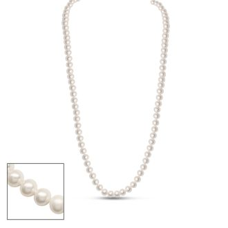 30 inch 6mm AA Pearl Necklace With 14K Yellow Gold Clasp