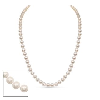 24 inch 7mm AA Pearl Necklace With 14K Yellow Gold Clasp