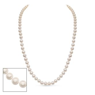 30 inch 7mm AA Pearl Necklace With 14K Yellow Gold Clasp