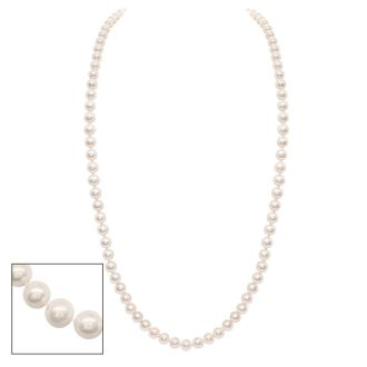 36 inch 7mm AA Pearl Necklace With 14K Yellow Gold Clasp