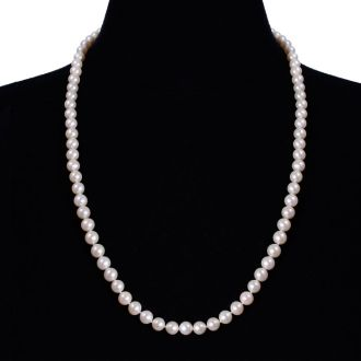 24 inch 7mm AAA Pearl Necklace with 14k Yellow Gold Clasp