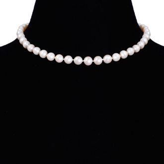 16 inch 8mm AAA Pearl Necklace With 14K Yellow Gold Clasp