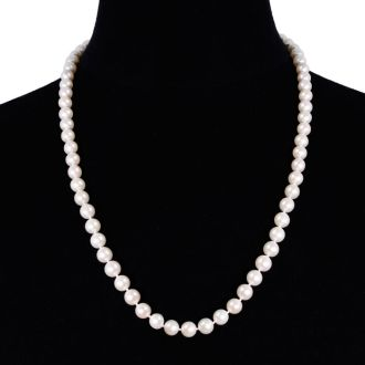 24 inch 8mm AAA Pearl Necklace With 14K Yellow Gold Clasp