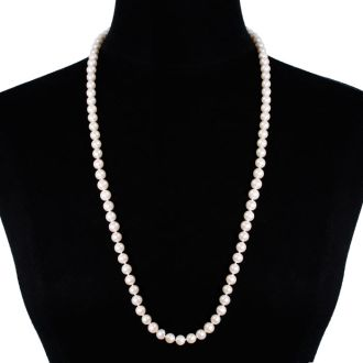 30 inch 8mm AAA Pearl Necklace With 14K Yellow Gold Clasp