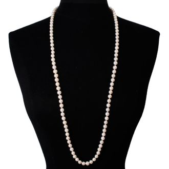 36 inch 8mm AAA Pearl Necklace With 14K Yellow Gold Clasp