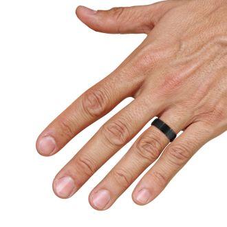 8mm Black Matte Finish Titanium Wedding Band