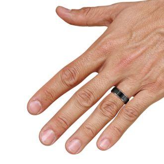 8MM Flat Top Two Tone Black Titanium Ring Wedding Band