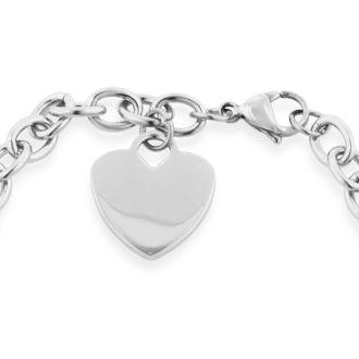 Ladies Dangling Single Heart Charm Bracelet in Stainless Steel With Free Custom Engraving
