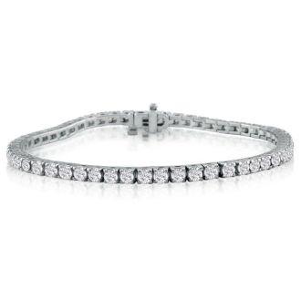 5 Carat Diamond Tennis Bracelet In 14 Karat White Gold, 7 Inches. Fantastic Classic Beautiful Diamond Bracelet!