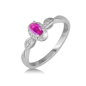 1/2ct Created Pink Sapphire and Diamond Ring in Sterling Silver