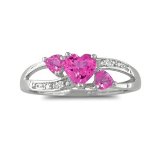 7/8ct Triple Heart Shaped Pink Topaz and Diamond Ring in SS
