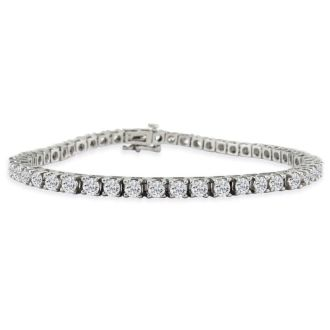 6 Carat Fine Diamond Tennis Bracelet In 14 Karat White Gold