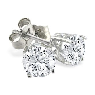 3/4ct Diamond Stud Earrings, White Gold, H/I Color, SI1-SI2 Clarity
