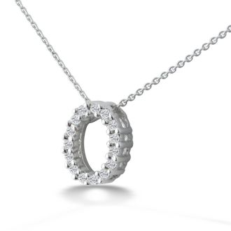 .08ct Oval  Diamond Pendant in 10k White Gold, 2 star Diamonds