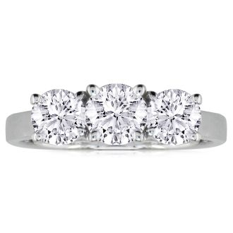 1/4ct Three Diamond Ring in 14k White Gold