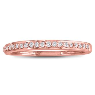 1/6ct Round Cut Pave Diamond  Band in 14k Rose Gold