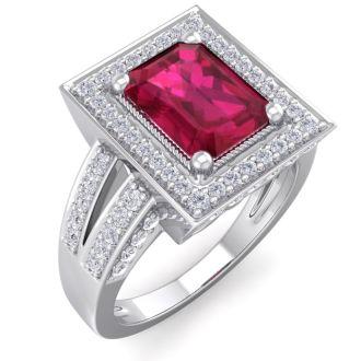 2 3/4 Carat Ruby and Halo Diamond Ring In 14 Karat White Gold
