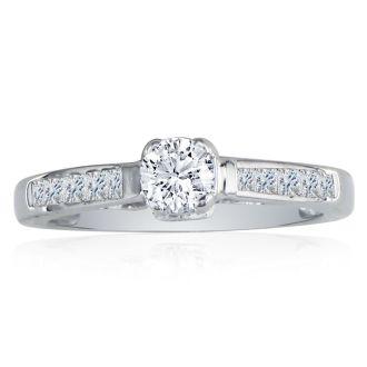 Elegant 1ct Round Cut Diamond Engagement Ring in 14k White Gold