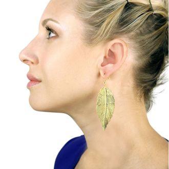 Long Dramatic Gold Tone Lightweight Dangle Leaf Earrings