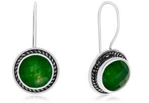 6 1/2 Carat Green Jade Earrings In Sterling Silver With Rope Detail