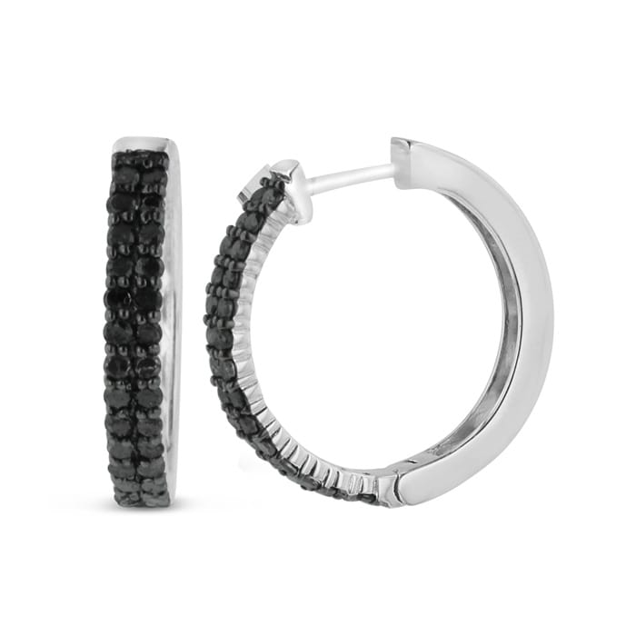 8e37d158b 1ct Black Diamond Pave Hoop Earrings Crafted In Solid Sterling ...