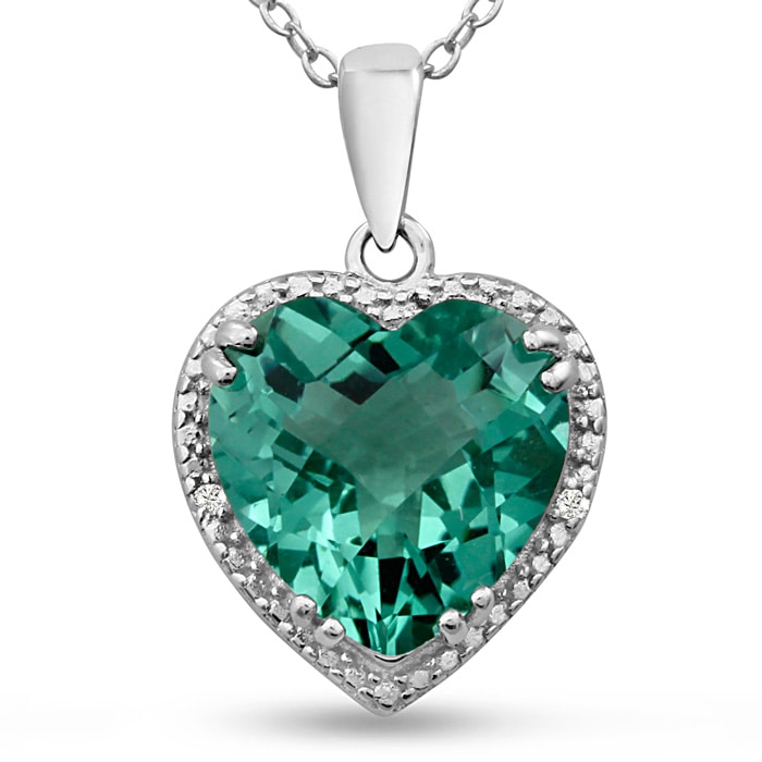 Green Amethyst Necklace 5ct And Diamond Heart Crafted In Solid Sterling Silver Superjeweler
