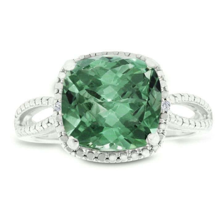 db045594d Green Amethyst | Green Amethyst Ring | 3.30ct Cushion Cut Green ...