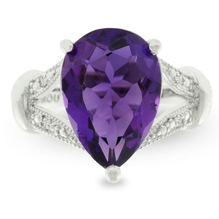 Amethyst Ring February Birthstone 5ct Pear Cut Purple Amethyst