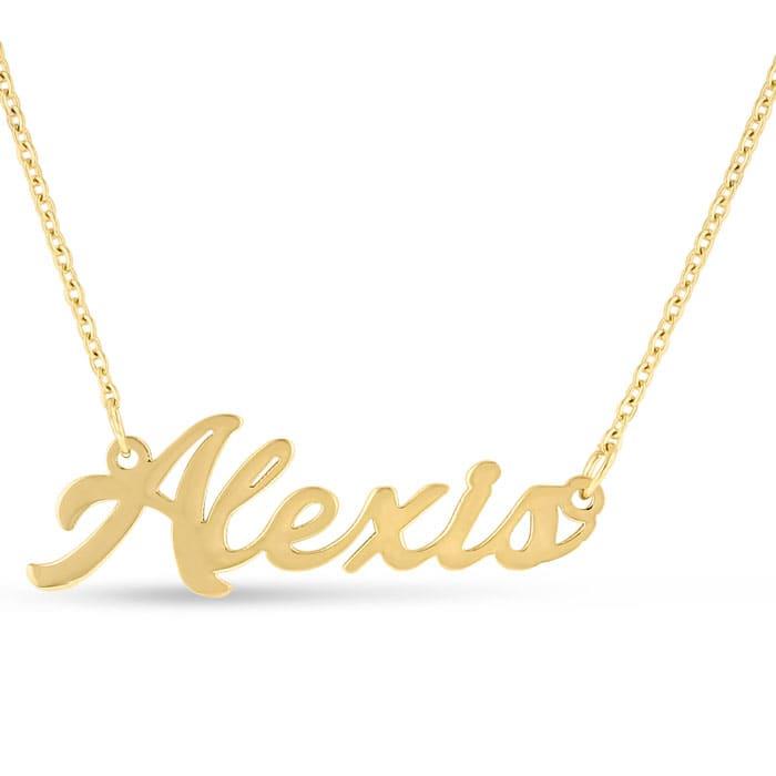 Alexis Nameplate Necklace In Gold | SuperJeweler com